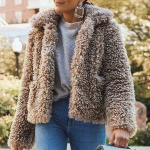 Zara Tan brown teddy faux fur coat short